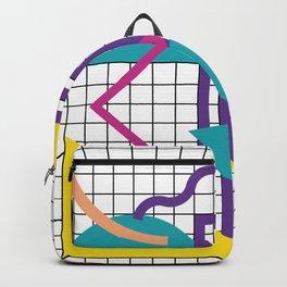 Memphis Pattern - 80s Retro White Backpack