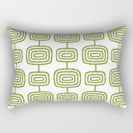Mid Century Modern Atomic Rings Pattern Olive Green 3 Rectangular Pillow