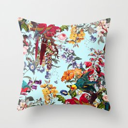 Floral and Birds XXXIV Throw Pillow