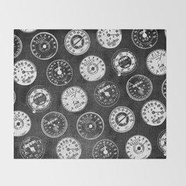 Dark Vintage Motorcycle Speedometers Throw Blanket