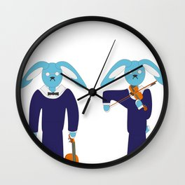 Blue hare violinist Wall Clock