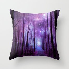 Fantasy Forest Path Purple Pink Throw Pillow