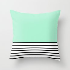 Fresh Mint Black and White stripes pattern Throw Pillow