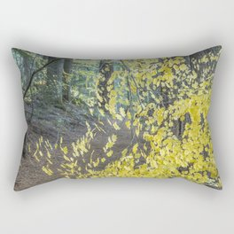 A Splay of Fall Leaves on a Forest Trail Rectangular Pillow