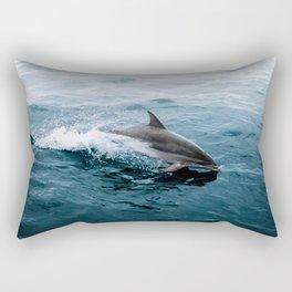 Dolphin in the Atlantic Ocean - Wildlife Photography Rectangular Pillow