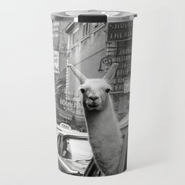 Llama Riding in Taxi, Black and White Vintage Print Travel Mug