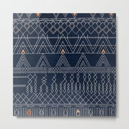 Blue Farmhouse Antique Traditional Moroccan Style Artwork Metal Print