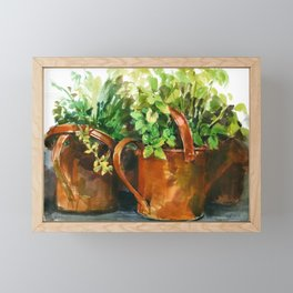 plants in rusty watering can, watercolor sketch from nature Framed Mini Art Print