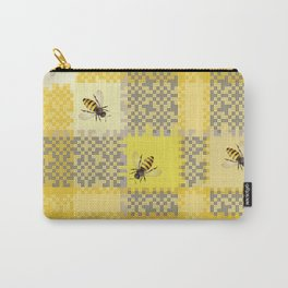 Honey Bee On Honey Comb Weave Carry-All Pouch