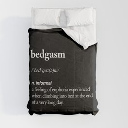 Bedgasm funny meme dictionary definition modern black and white typography home room wall decor Comforters