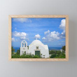 Traditional Old Greek Church in Fira on Santorini Framed Mini Art Print