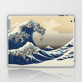 The Great Wave of Pugs Vanilla Sky Laptop & iPad Skin