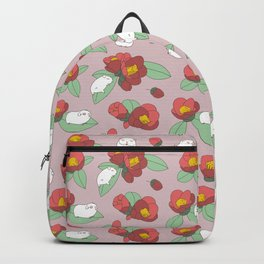 Japanese Camellia and Albino Guinea Pig Pattern Backpack
