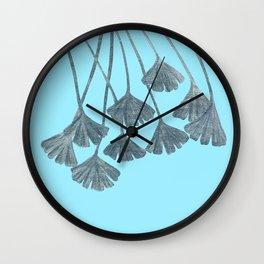 Silver Gingko Leaves Wall Clock