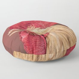 red and white hen coq Floor Pillow
