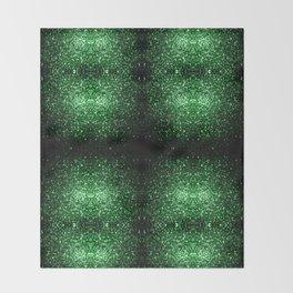 Glamour Dark Green glitter sparkles Throw Blanket