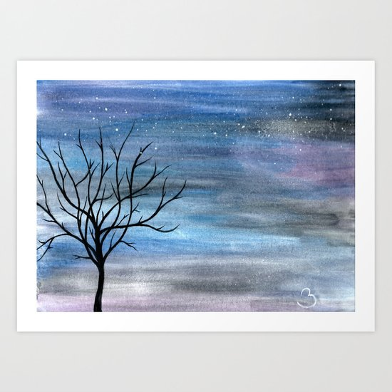 Silhouette Tree Art Print