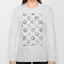 Black and grey paw print pattern Long Sleeve T-shirt