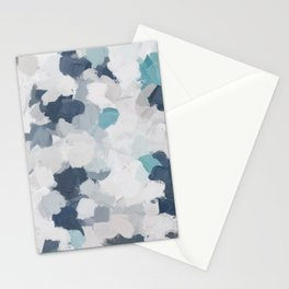 Navy Indigo Turquoise Blue White Gray Mint Abstract Air Clouds Painting Art Print Wall Decor  Stationery Cards