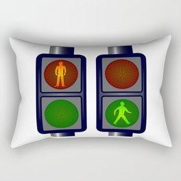 Walking Man Traffic Lights Rectangular Pillow