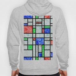 Modern Art Fluid Grid Pattern Hoody