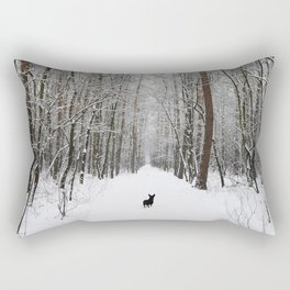 Dog in the snowland Rectangular Pillow