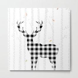 Buffalo Check Deer Metal Print