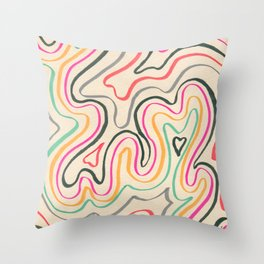 Cartographic flippancy #1 -colourful Ink line drawing  Throw Pillow