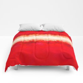 Bright Ruby Red & Cream Abstract Comforters