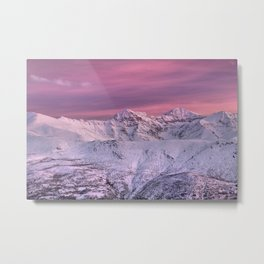 Mulhacen, Alcazaba And Vacares Mountains At Sunset. Snow Mountains Metal Print