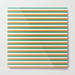 Irish Tricolour Horizontal Stripes Green Orange and White Irish Flag Metal Print