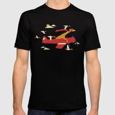 Red Barons Black Mens Fitted Tee LARGE