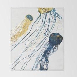 Metallic Jellyfish II Throw Blanket