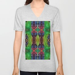 Kaleidoscope Tile (Green, Blue, Red and Yellow)  Unisex V-Neck