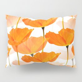 Orange Poppies On A White Background #decor #society6 #buyart Pillow Sham