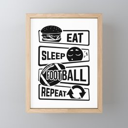 Eat Sleep Football Repeat - Touchdown USA America Framed Mini Art Print
