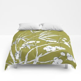 bamboo and plum flower in white on yellow Comforters