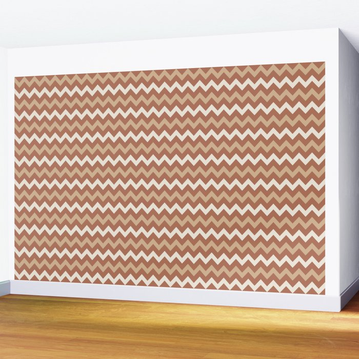 Cavern Clay SW 7701 Ligonier Tan SW 7717 and Creamy Off White SW7012 Chevron Horizontal Lines Wall Mural