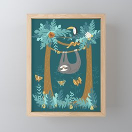 Sloth Hanging in a Teal Forest Framed Mini Art Print