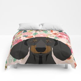 Dachshund florals cute pet gifts black and tan dachshund gifts for dog lover with weener dog Comforters
