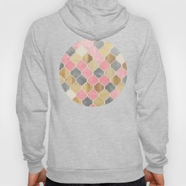 Silver Grey, Soft Pink, Wood & Gold Moroccan Pattern Hoody