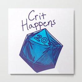 Crit Happens D20  Metal Print