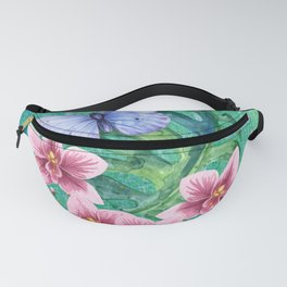 Butterfly with Orchids and Monstera Fanny Pack