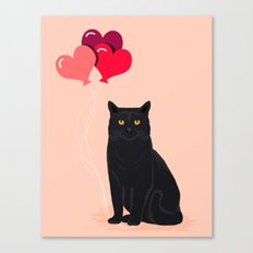 Black Cat Love balloons valentine gifts for cat lady cat people gifts ideas funny cat themed gifts Canvas Print