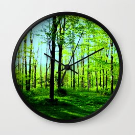 Sky Blue Morning Forest Wall Clock