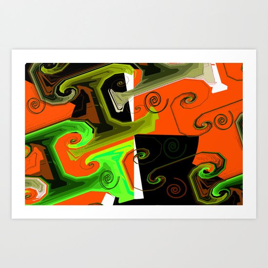 Spirals abstract orange Art Print