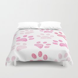 Pink colored paw print background Duvet Cover