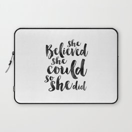 NURSERY GIRLS DECOR, She Believed She Could So She Did,Girls Room Decor,Girly Svg,Teens Girls,Quote Laptop Sleeve