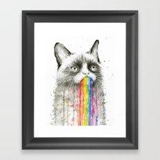Grumpy Rainbow Cat Watercolor Animal Meme Geek Art Framed Art Print