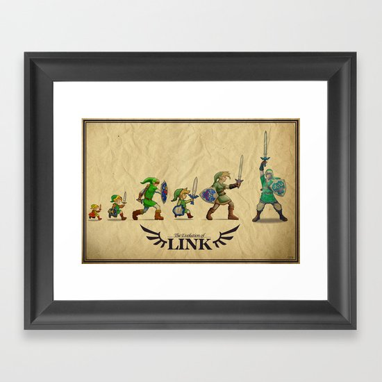 The Evolution of Link Framed Art Print